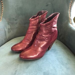 Miss Sixty Roxanne Heeled Booties-Deep Red Leather